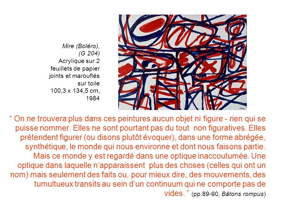 Mire (Boléro), (G 204) Acrylique sur 2 feuillets de papier joints et marouflés sur toile 100,3 x 134,5 cm, 1984.