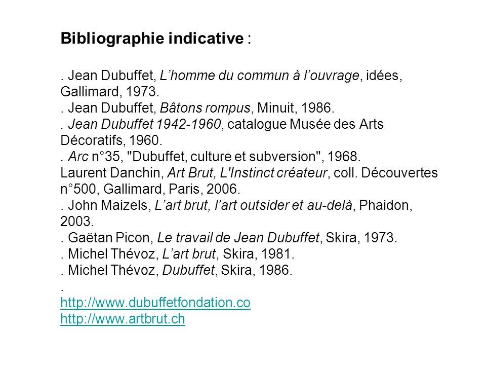 Bibliographie indicative :