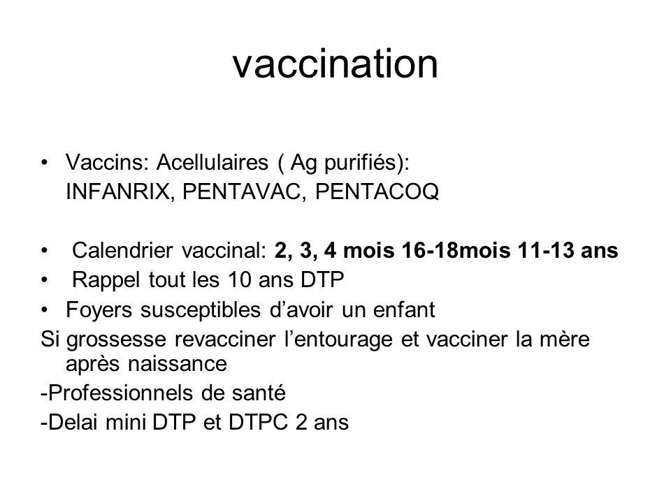 vaccination Vaccins: Acellulaires ( Ag purifiés):