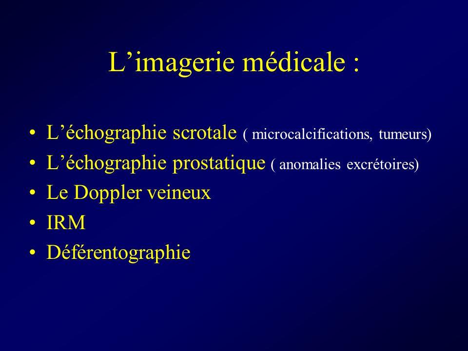 L'imagerie médicale :L'échographie scrotale ( microcalcifications, tumeurs) L'échographie prostatique ( anomalies excrétoires)