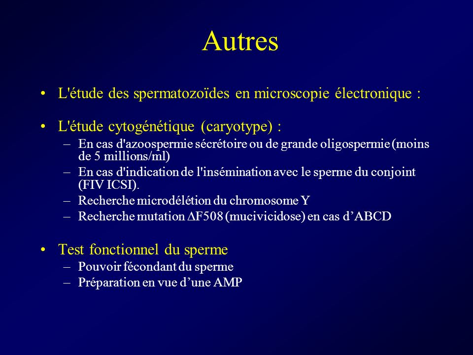 Autres L étude des spermatozoïdes en microscopie électronique :