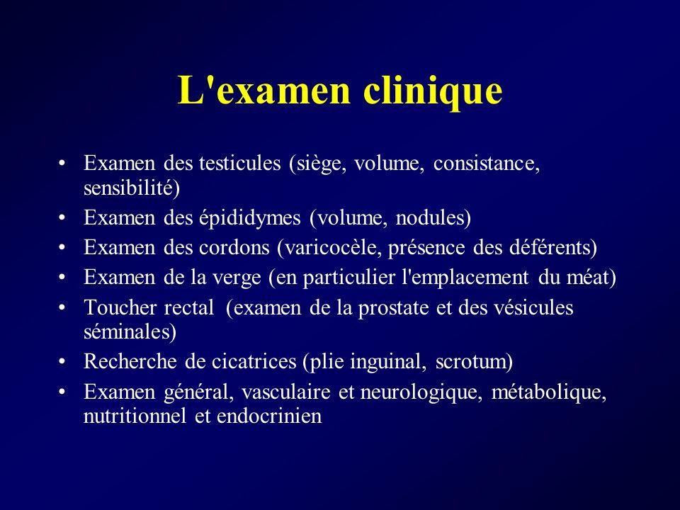 L examen clinique Examen des testicules (siège, volume, consistance, sensibilité) Examen des épididymes (volume, nodules)