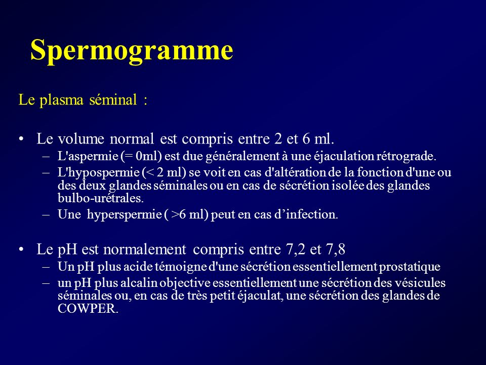 Spermogramme Le plasma séminal :