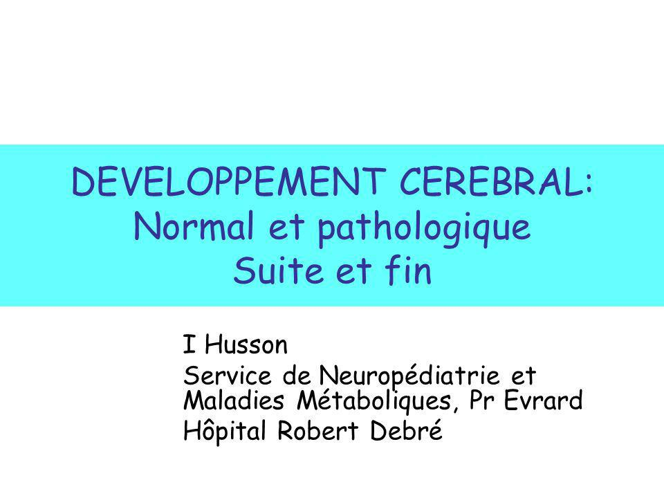 DEVELOPPEMENT CEREBRAL: Normal et pathologique Suite et fin