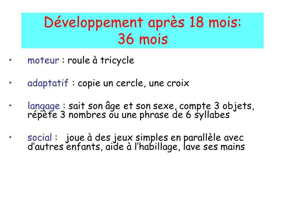 Développement après 18 mois: 36 mois