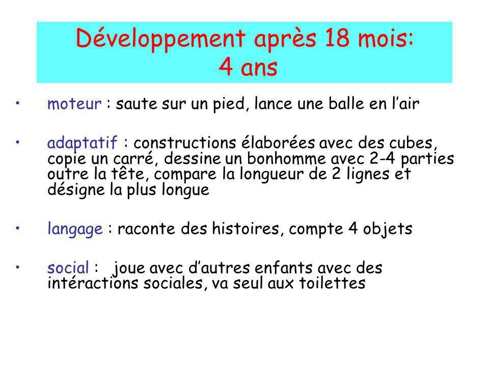 Développement après 18 mois: 4 ans