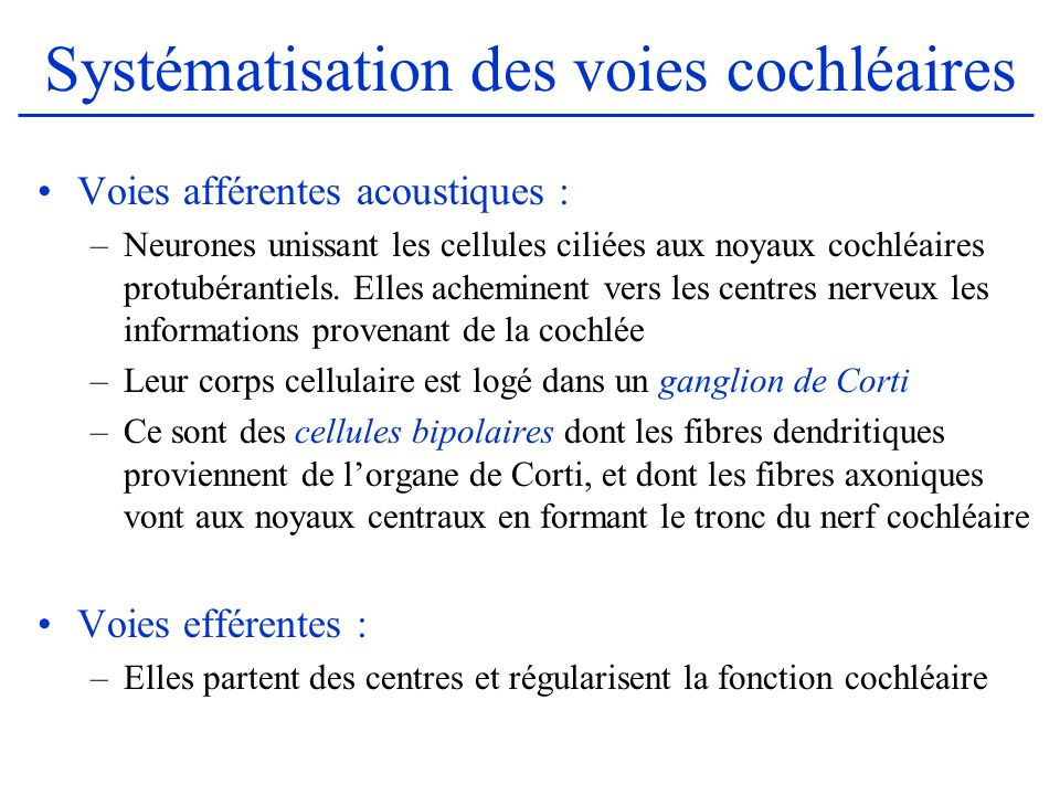 Systématisation des voies cochléaires