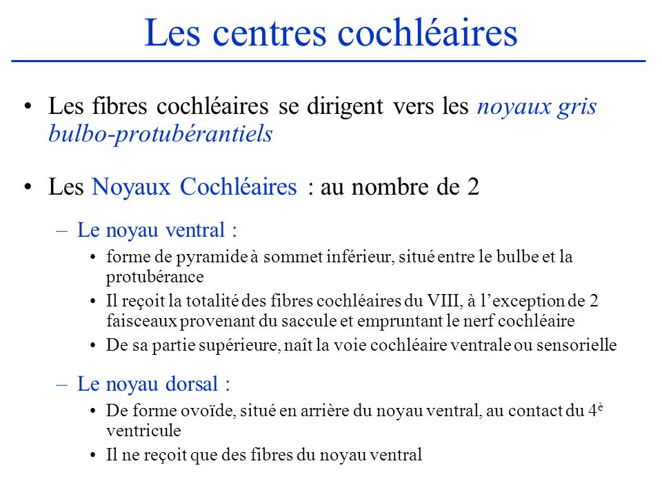 Les centres cochléaires