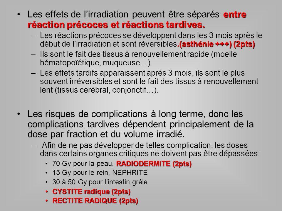 Les effets de l'irradiation peuvent être séparés entre réaction précoces et réactions tardives.