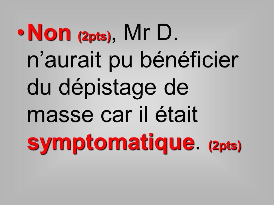 Non (2pts), Mr D. n'aurait pu bénéficier du dépistage de masse car il était symptomatique. (2pts)