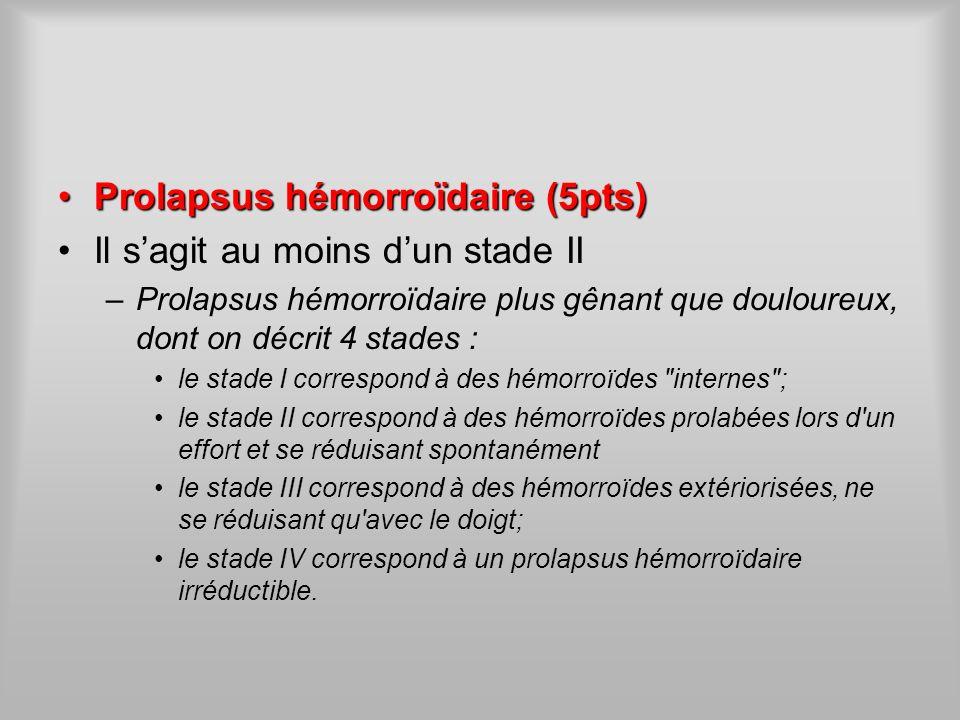 Prolapsus hémorroïdaire (5pts) Il s'agit au moins d'un stade II