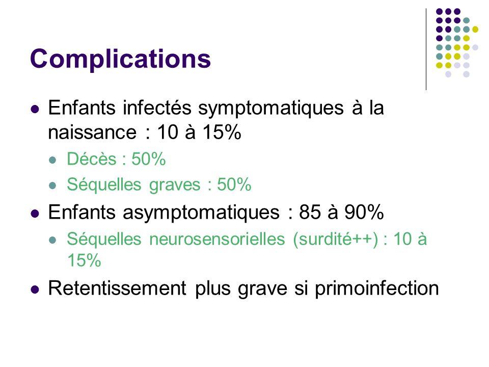 Complications Enfants infectés symptomatiques à la naissance : 10 à 15% Décès : 50% Séquelles graves : 50%