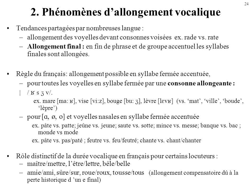 2. Phénomènes d'allongement vocalique