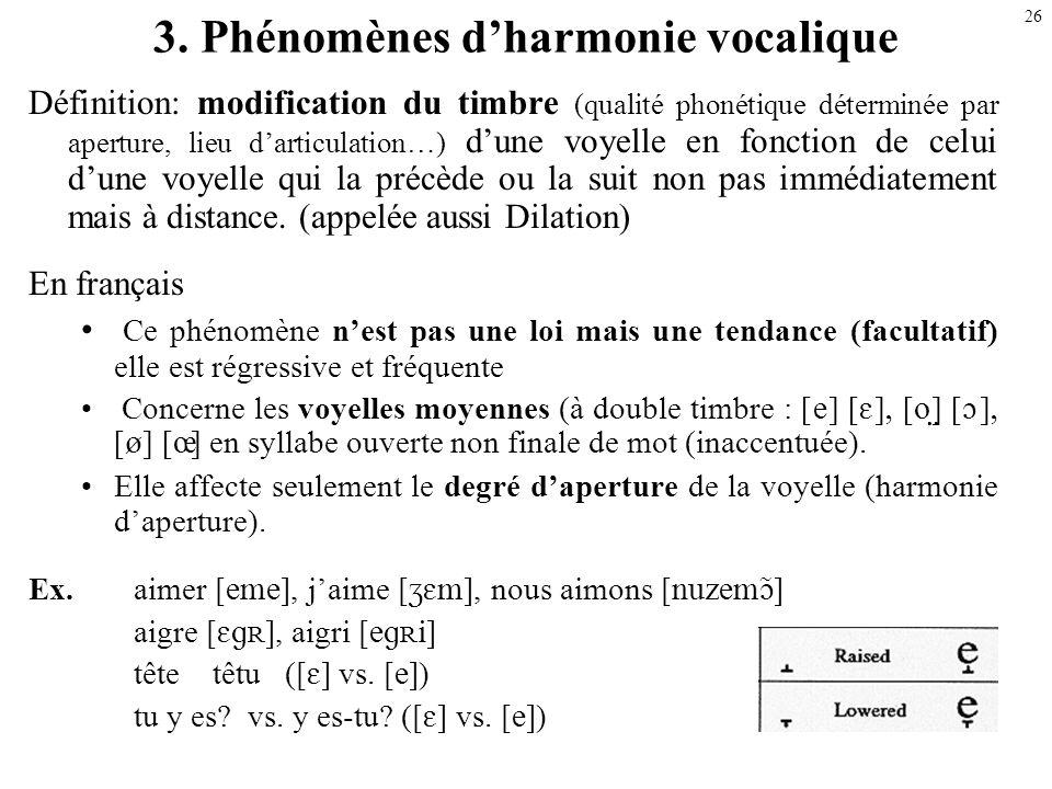 3. Phénomènes d'harmonie vocalique