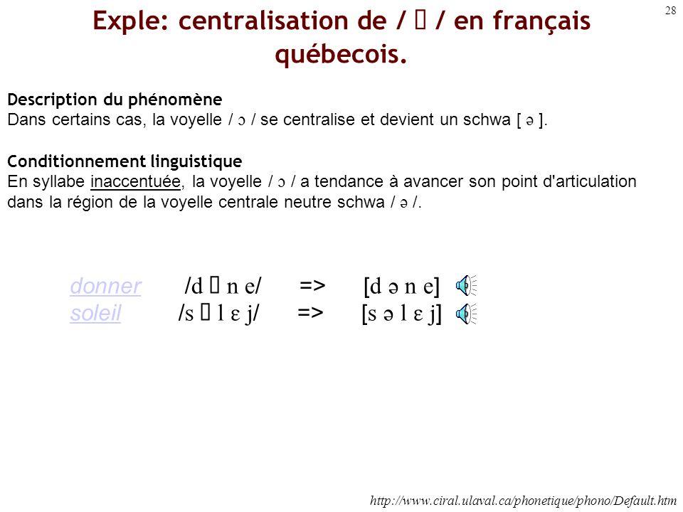 Exple: centralisation de /  / en français québecois.