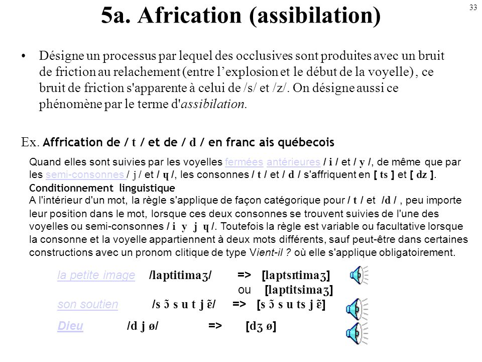 5a. Africation (assibilation)