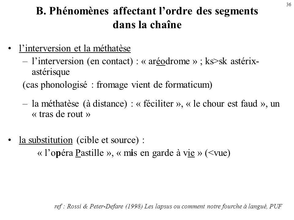 B. Phénomènes affectant l'ordre des segments dans la chaîne