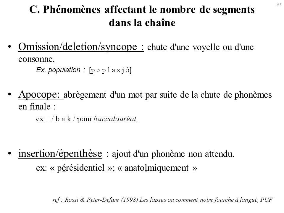 C. Phénomènes affectant le nombre de segments dans la chaîne