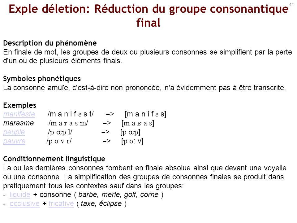 Exple déletion: Réduction du groupe consonantique final
