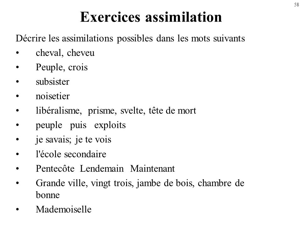 Exercices assimilation