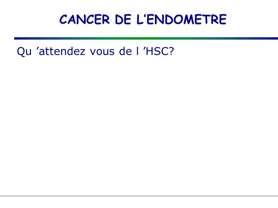 CANCER DE L'ENDOMETRE Qu 'attendez vous de l 'HSC