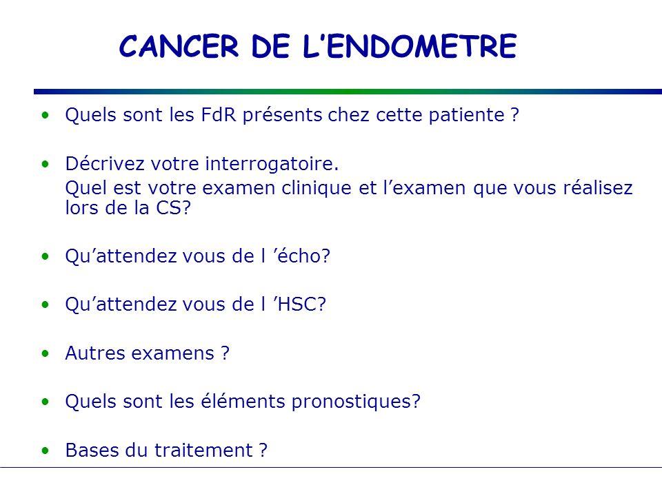 CANCER DE L'ENDOMETRE Quels sont les FdR présents chez cette patiente Décrivez votre interrogatoire.