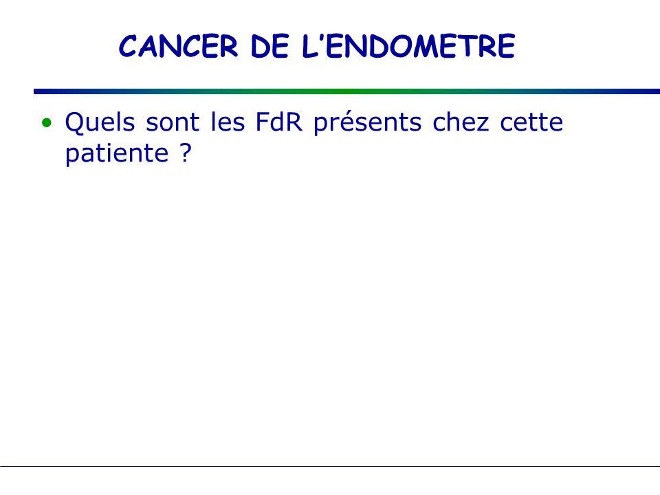 CANCER DE L'ENDOMETRE Quels sont les FdR présents chez cette patiente