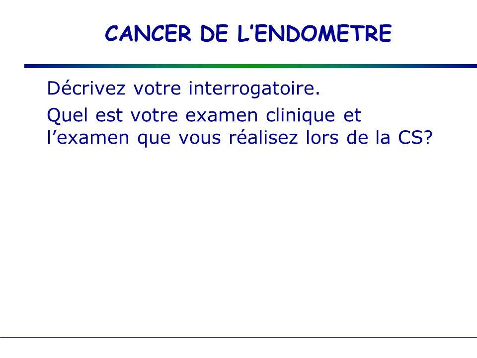 CANCER DE L'ENDOMETRE Décrivez votre interrogatoire.