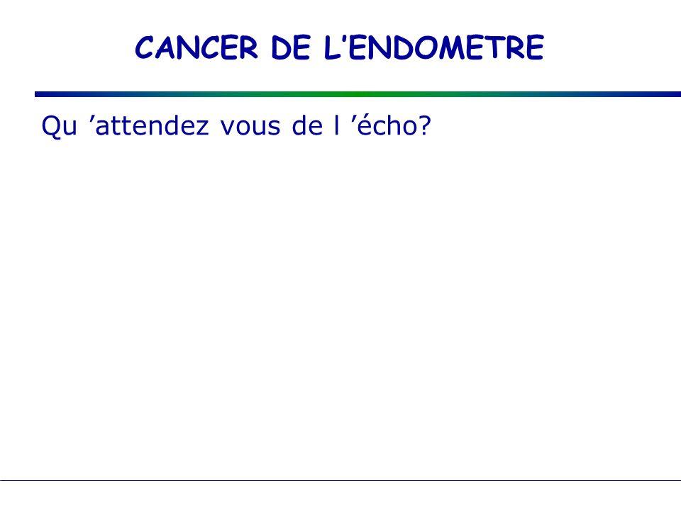 CANCER DE L'ENDOMETRE Qu 'attendez vous de l 'écho