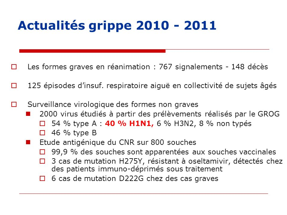 Actualités grippe 2010 - 2011 Les formes graves en réanimation : 767 signalements - 148 décès.