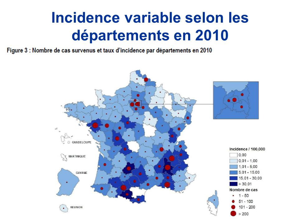 Incidence variable selon les départements en 2010