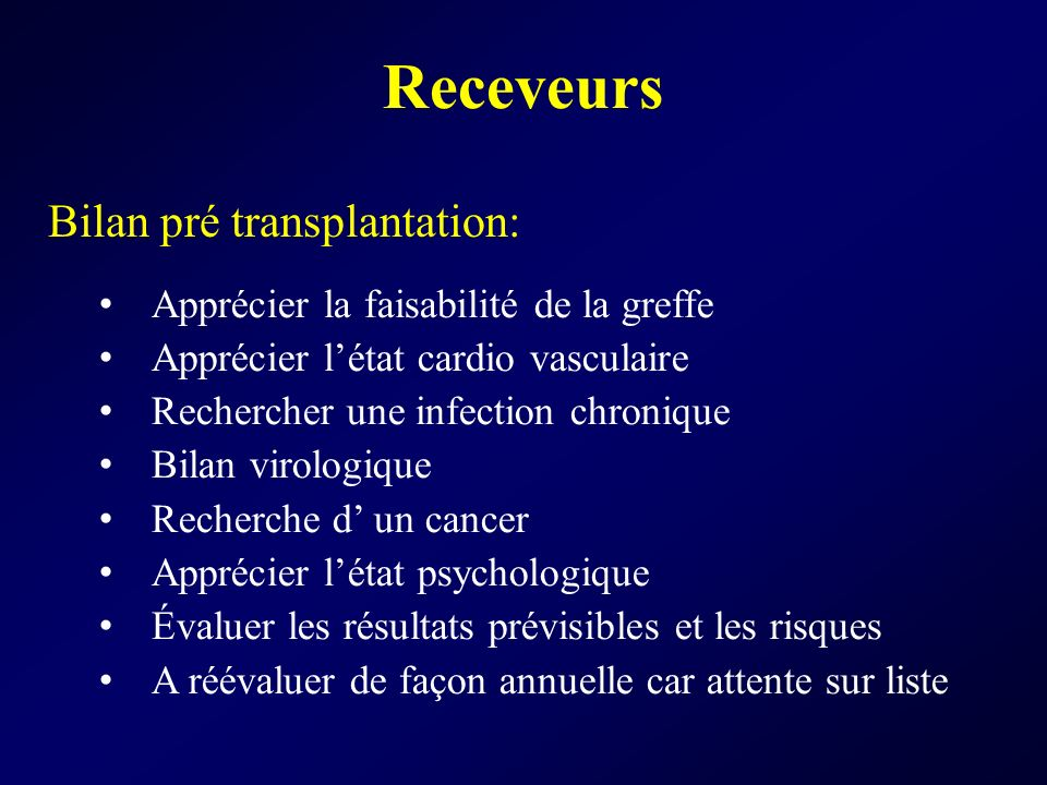 Bilan pré transplantation: