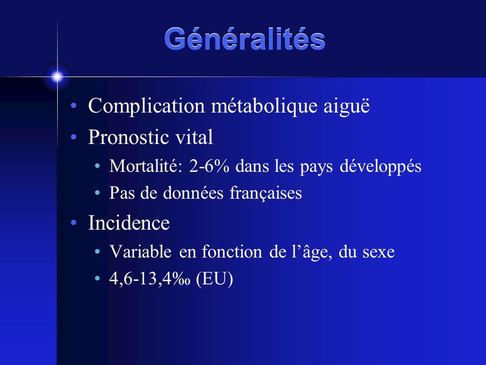 Généralités Complication métabolique aiguë Pronostic vital Incidence