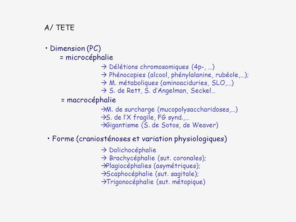 Forme (craniosténoses et variation physiologiques)