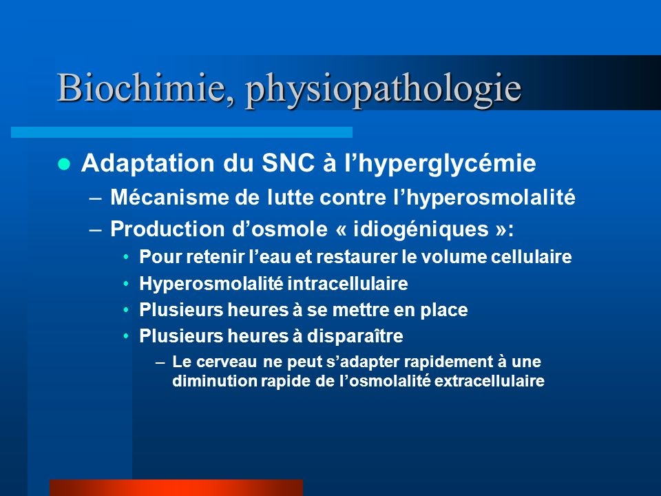 Biochimie, physiopathologie