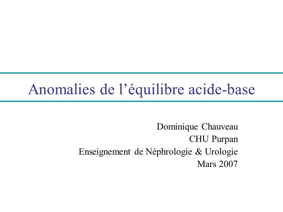 Anomalies de l'équilibre acide-base