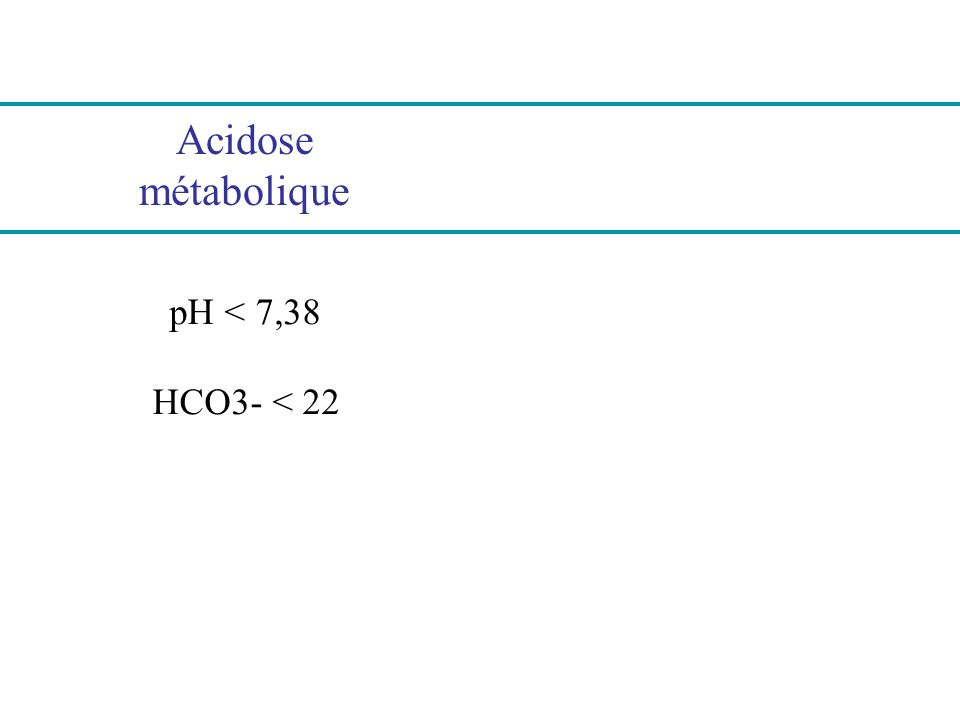 Acidose métabolique pH < 7,38 HCO3- < 22