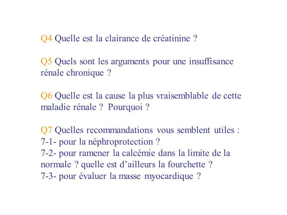 Q4 Quelle est la clairance de créatinine