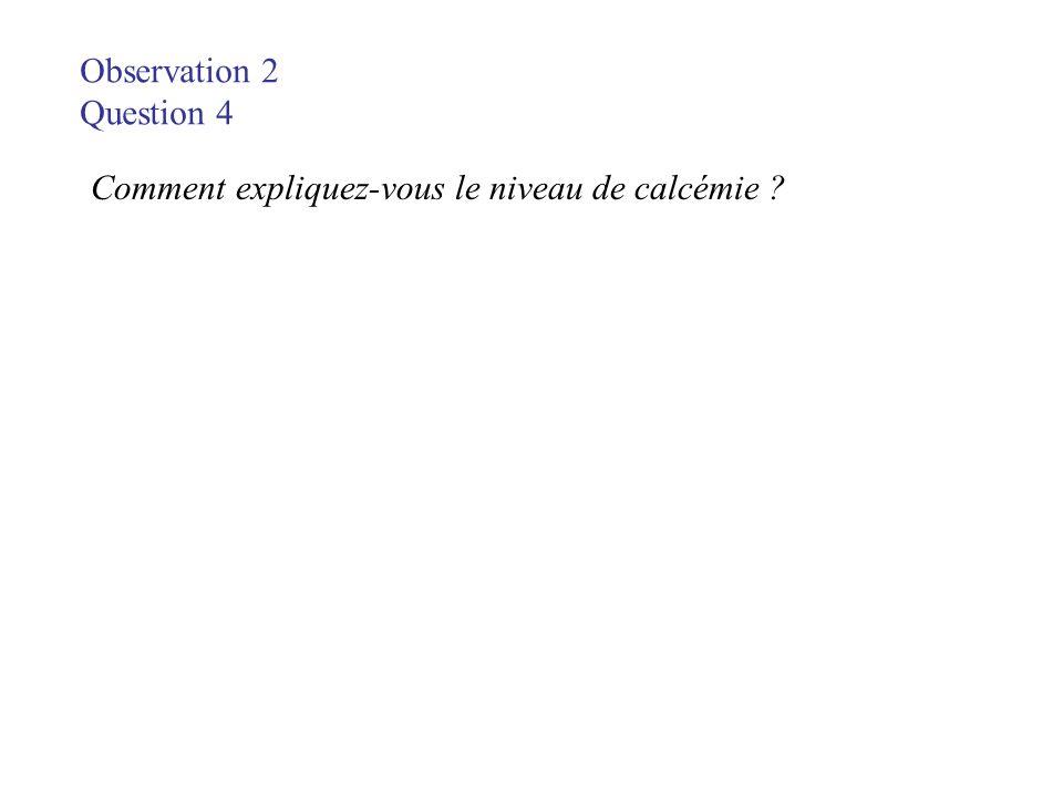Observation 2 Question 4 Comment expliquez-vous le niveau de calcémie