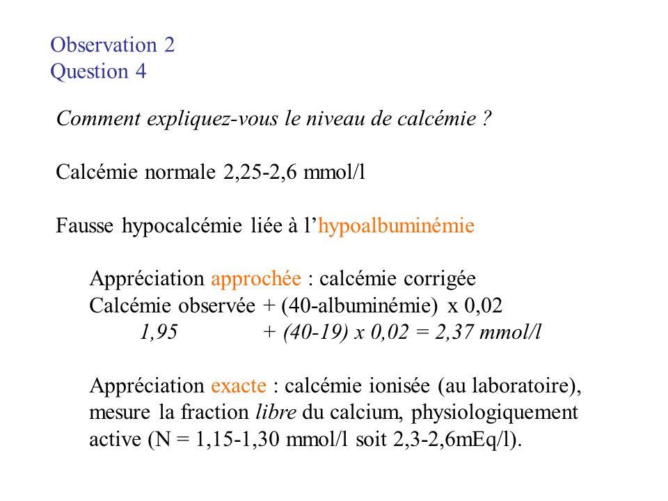 Observation 2 Question 4. Comment expliquez-vous le niveau de calcémie Calcémie normale 2,25-2,6 mmol/l.
