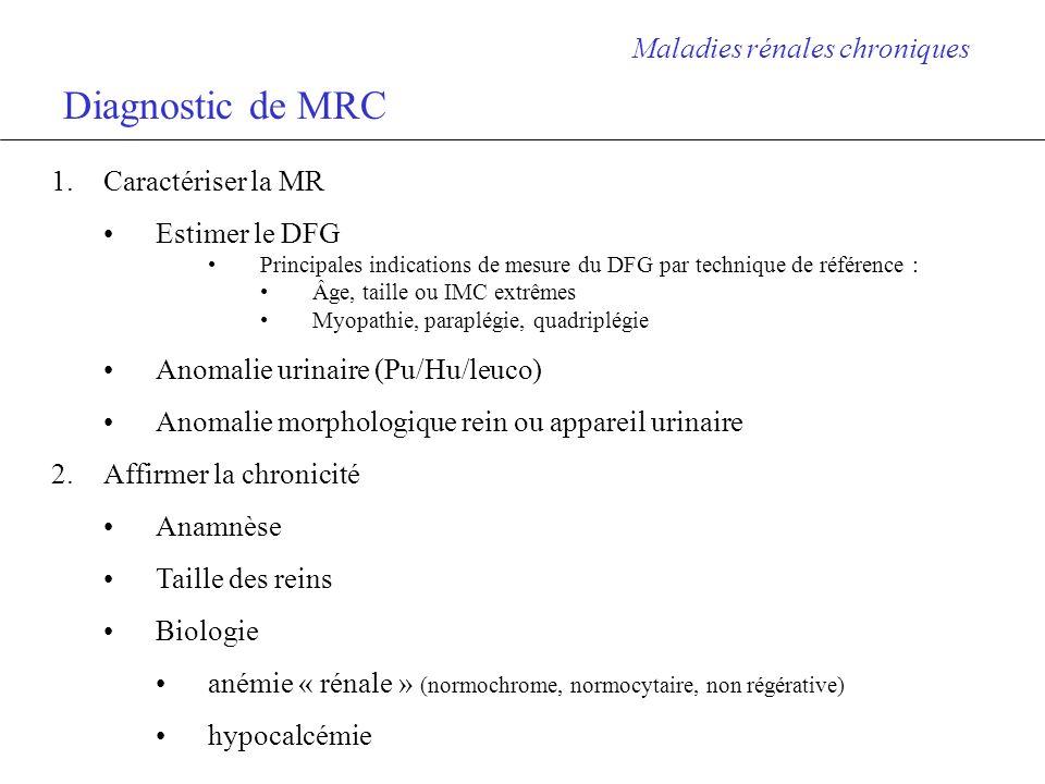 Diagnostic de MRC Maladies rénales chroniques Caractériser la MR