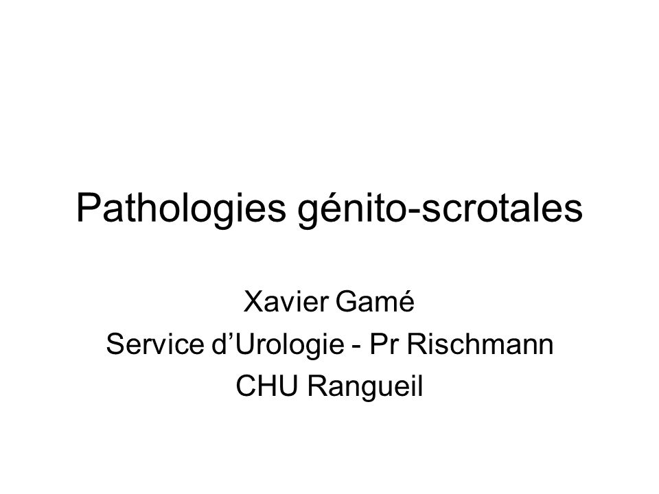 Pathologies génito-scrotales