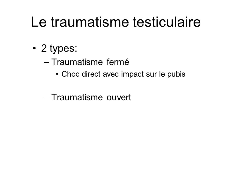 Le traumatisme testiculaire