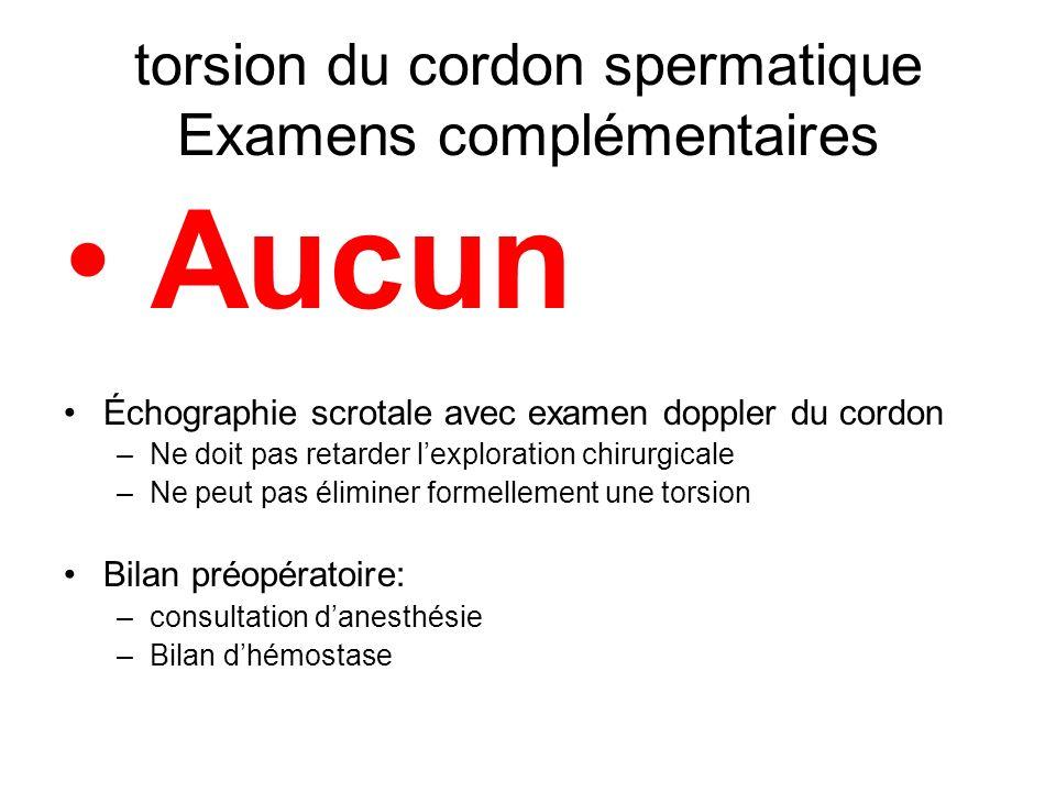 torsion du cordon spermatique Examens complémentaires