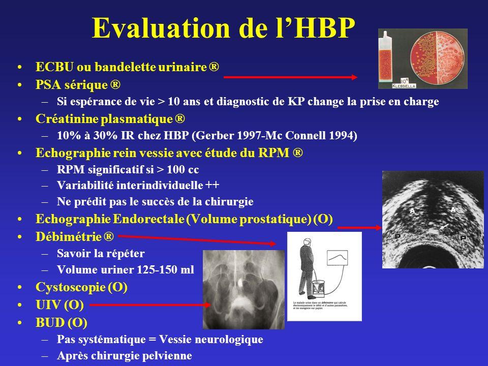 Evaluation de l'HBP ECBU ou bandelette urinaire ® PSA sérique ®