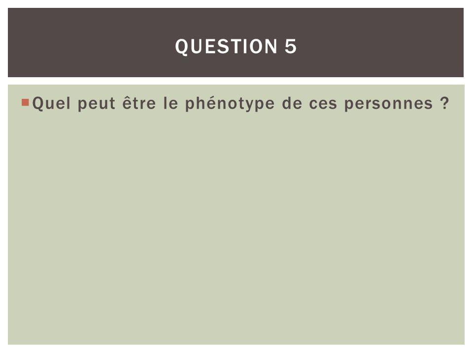 QUESTION 5 Quel peut être le phénotype de ces personnes