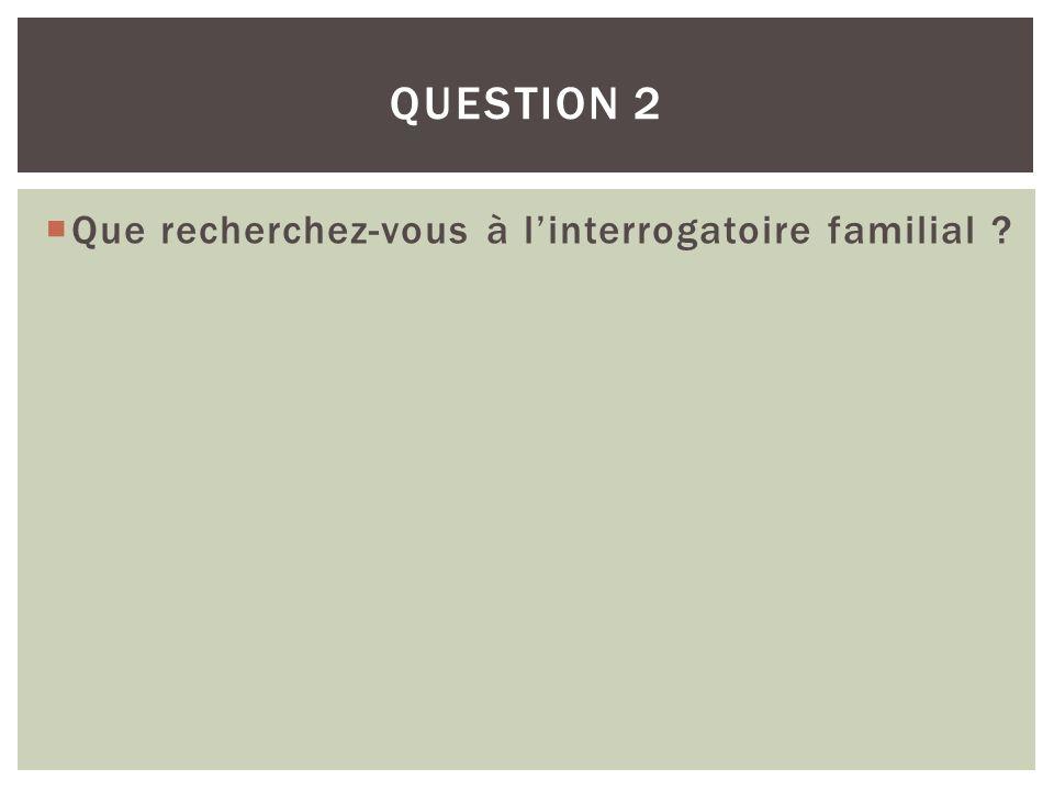 Question 2 Que recherchez-vous à l'interrogatoire familial