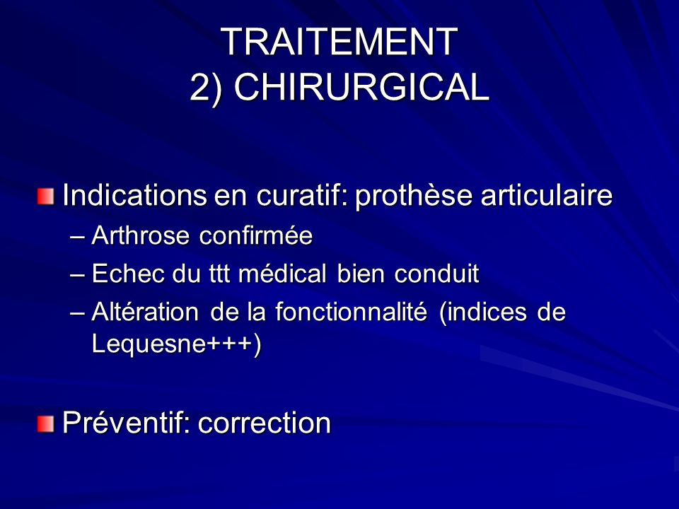 TRAITEMENT 2) CHIRURGICAL