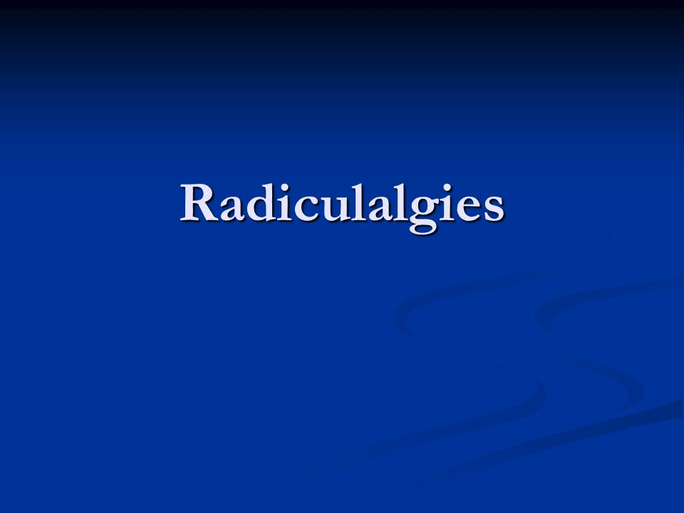 Radiculalgies