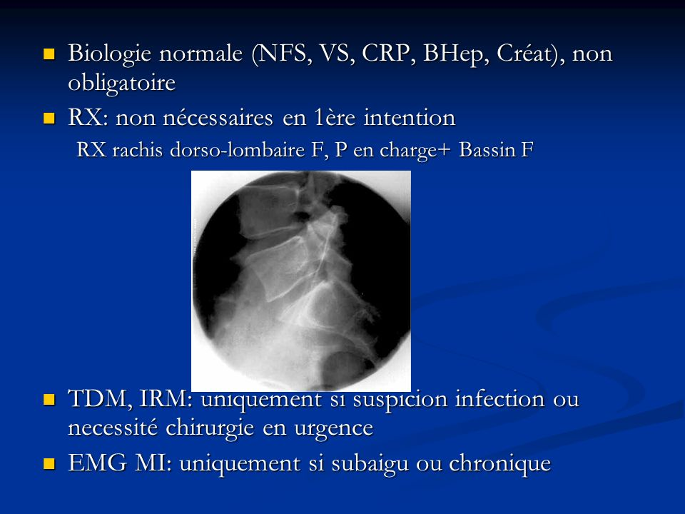 Biologie normale (NFS, VS, CRP, BHep, Créat), non obligatoire
